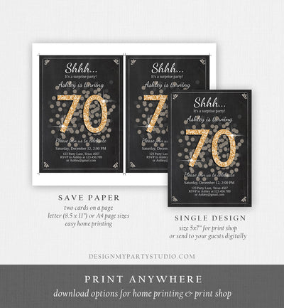 Editable ANY AGE Surprise Birthday Invitation Adult 70th Party Rustic Chalk Black Gold Glitter Photo Download Printable Corjl Template 0103