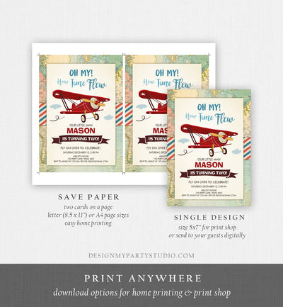 Editable Airplane Birthday Invitation Oh My Time Flew Red Airplane Second Birthday Plane Sky Instant Download Printable Corjl Template 0011