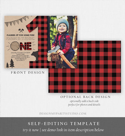 Editable Lumberjack Birthday Invitation Rustic Woodland Birthday Bear Forest Red Plaid Instant Download Printable Template Corjl 0026