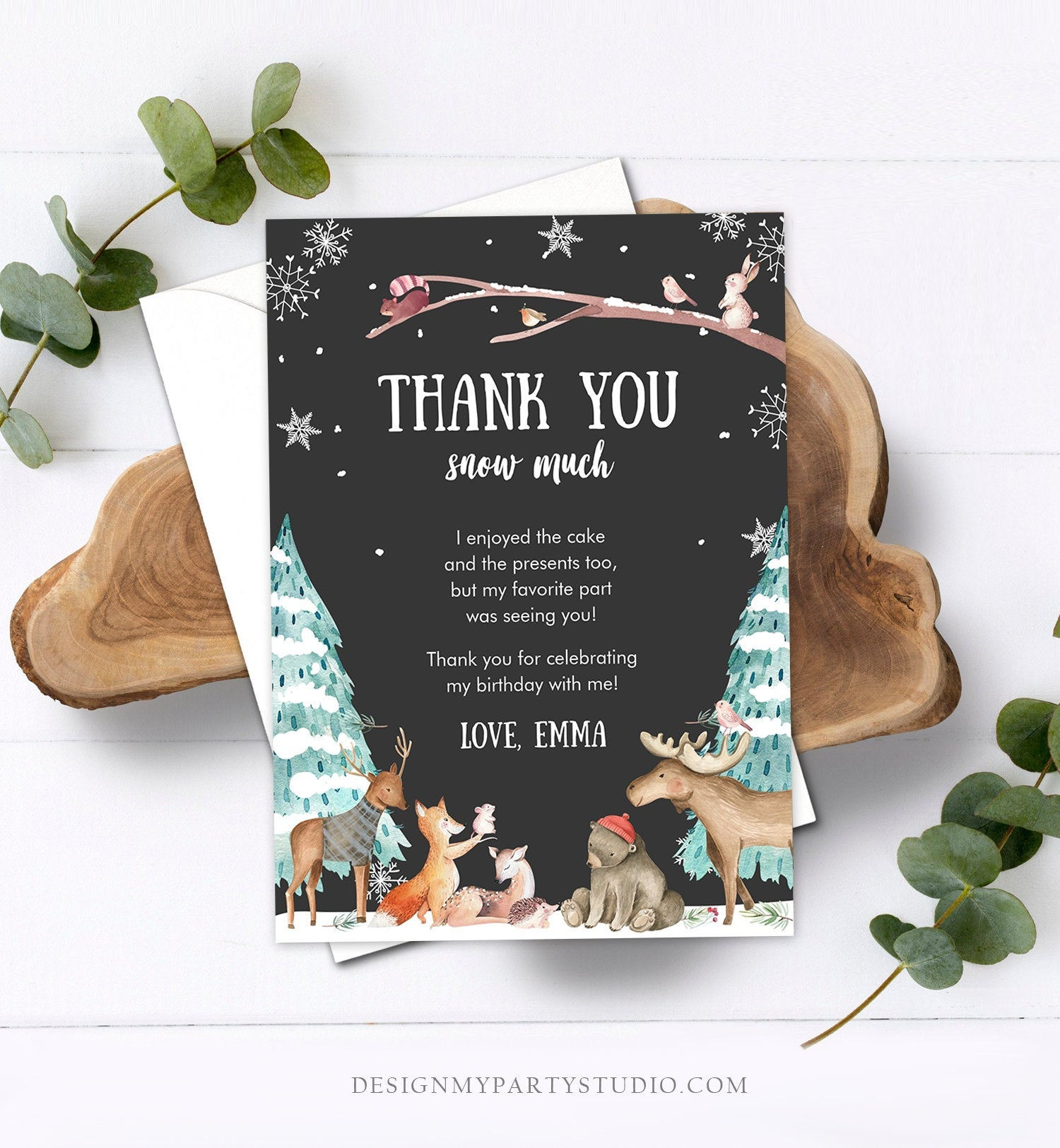 Editable Winter ONEderland Birthday Thank You Card First Birthday Woodland Thank you card Template Instant Download Digital Corjl 0195