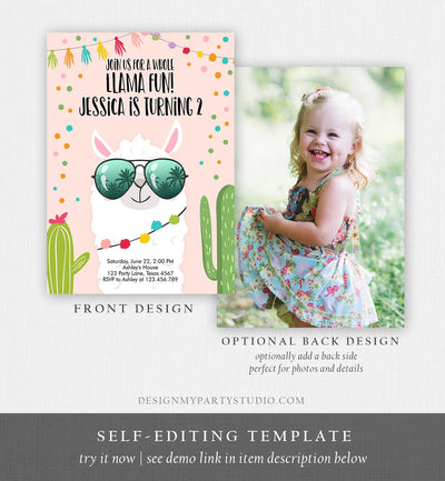 Editable Whole Llama Fun Birthday Invitation Llama Fiesta Cactus Confetti Girl Pink Alpaca Instant Download Printable Template Corjl 0079