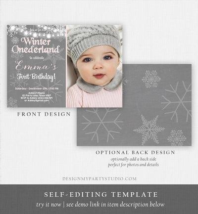 Editable Winter ONEderland Birthday Invitation First Birthday Snowflake Girl Pink Grey Snow Download Printable Invite Template Corjl 0027