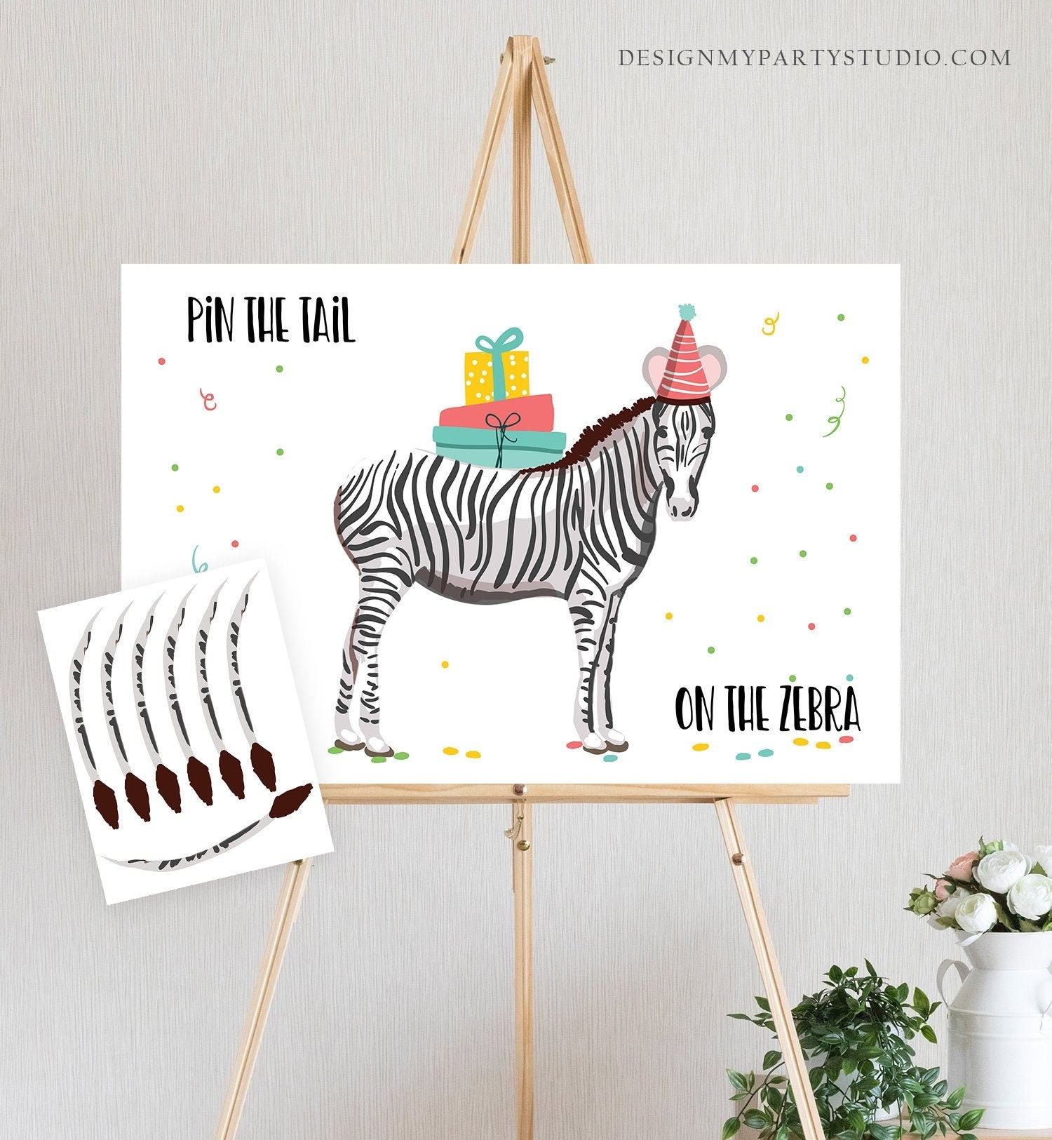 Editable Pin the Tail on the Zebra Birthday Game Safari Animals Party Animals Decor Wild One Instant Download Printable Digital Corjl 0142