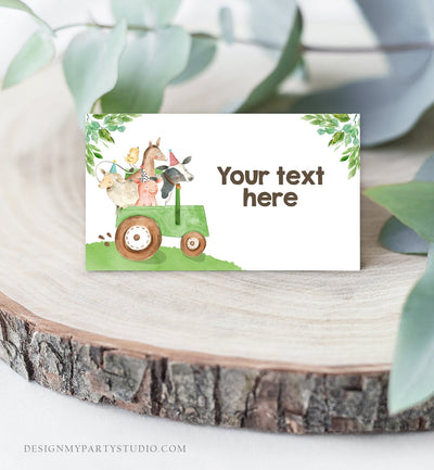Editable Farm Animals Food Labels Barnyard Birthday Food Cards Tent Card Green Tractor Farm Boy Shower Label Tent Card Template Corjl 0155
