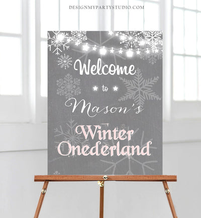 Editable Winter Onederland Welcome Sign Winter Welcome Sign Birthday Girl Pink and Grey Snowflakes Snow Template PRINTABLE Corjl 0027