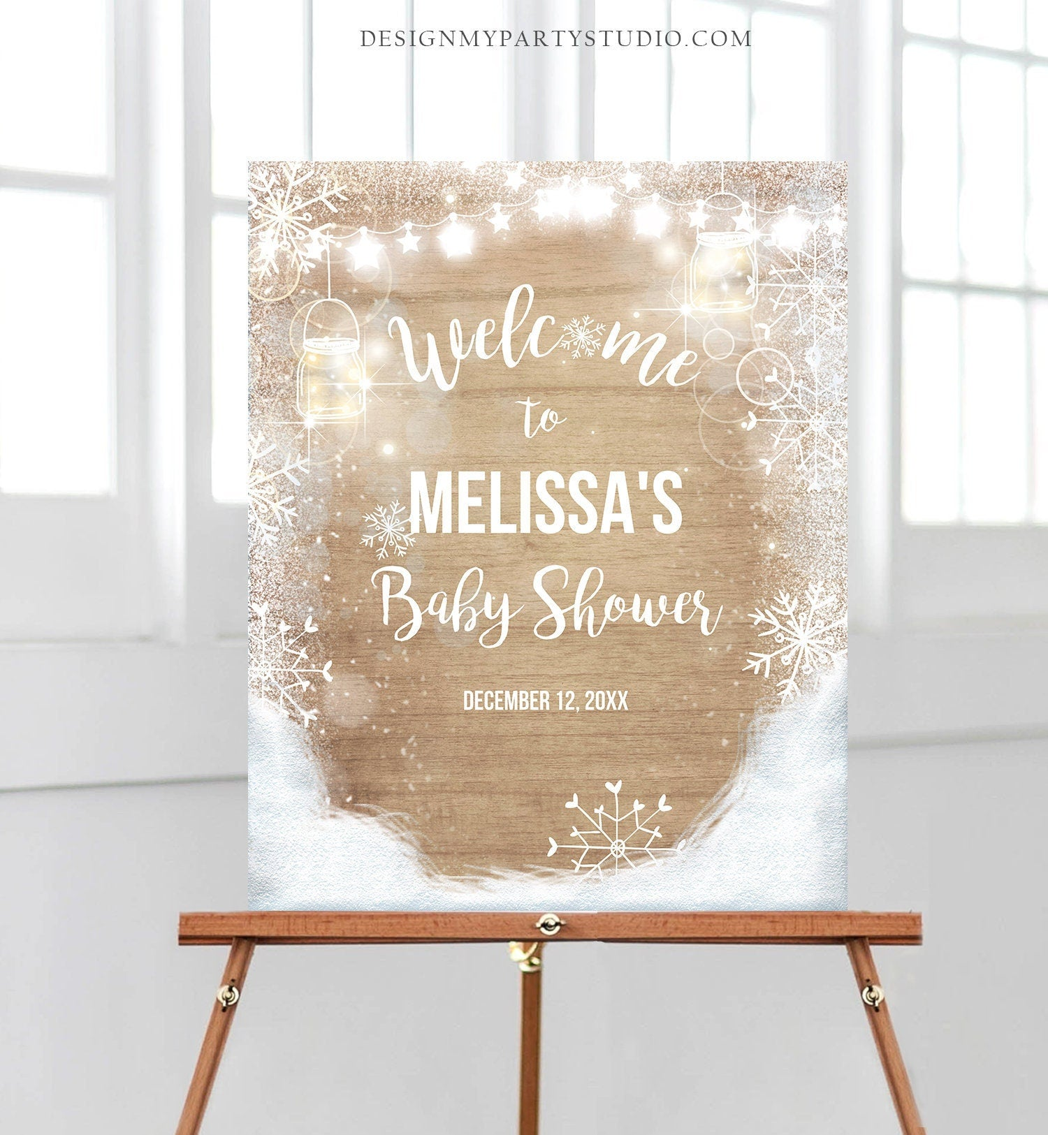 Editable Winter Welcome Sign Baby its Cold Outside Welcome Sign Winter Onederland Birthday Snowflakes Snow Template PRINTABLE Corjl 0031