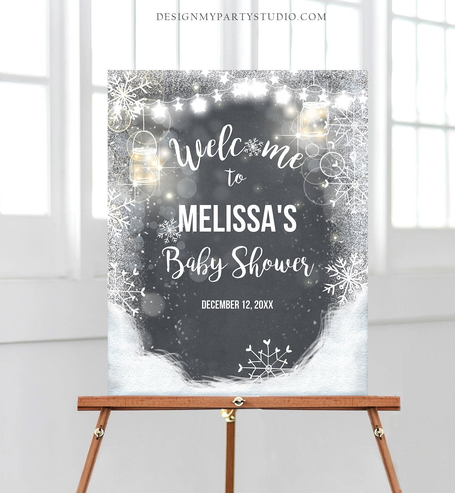 Editable Winter Welcome Sign Baby its Cold Outside Welcome Sign Winter Onederland Birthday Snowflakes Snow Template Corjl PRINTABLE 0031