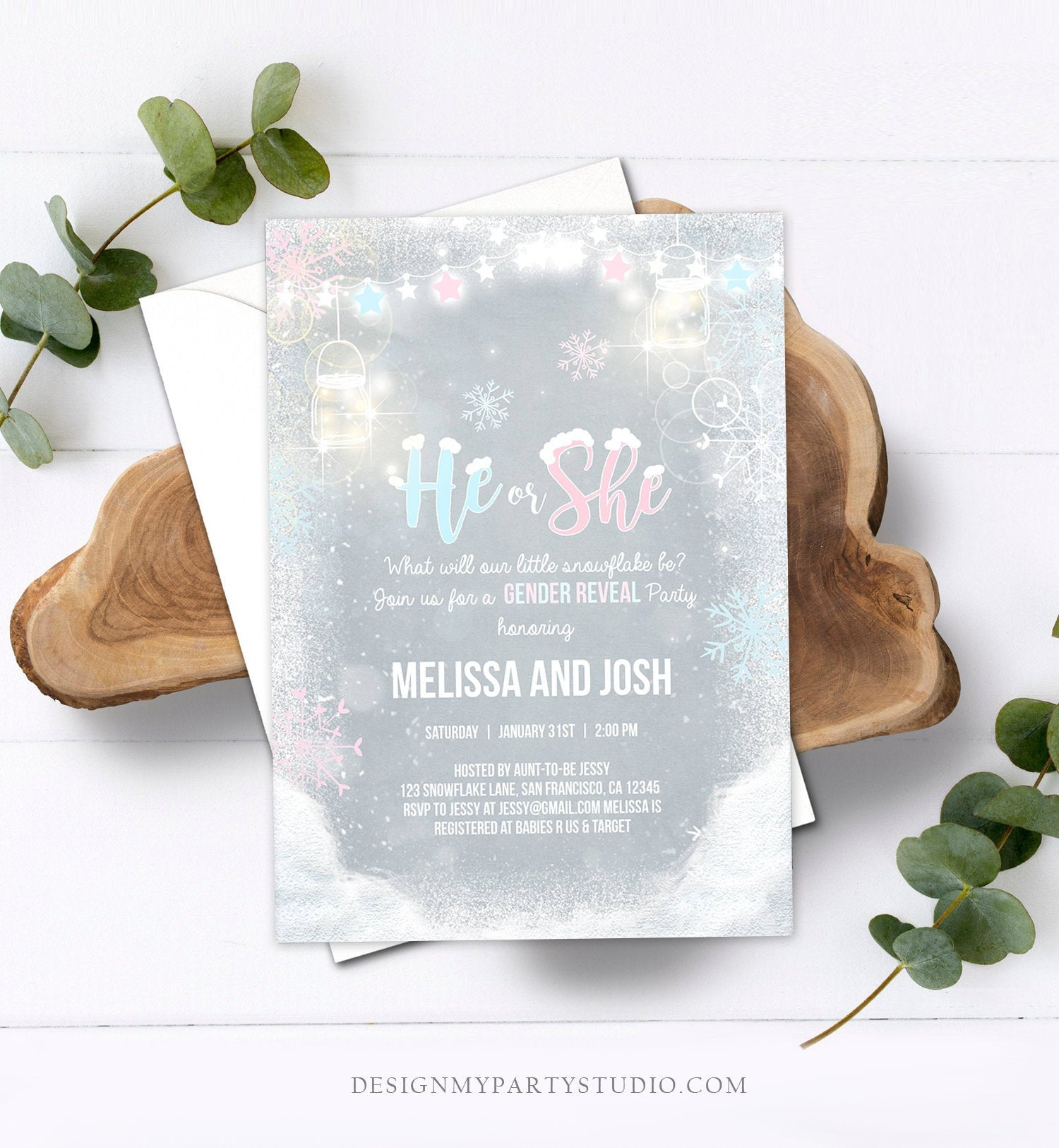 Editable Winter Gender Reveal Party Invite Cold Outside Snow Boy or Girl He or She Rustic Invitation Template Instant Download Corjl 0031