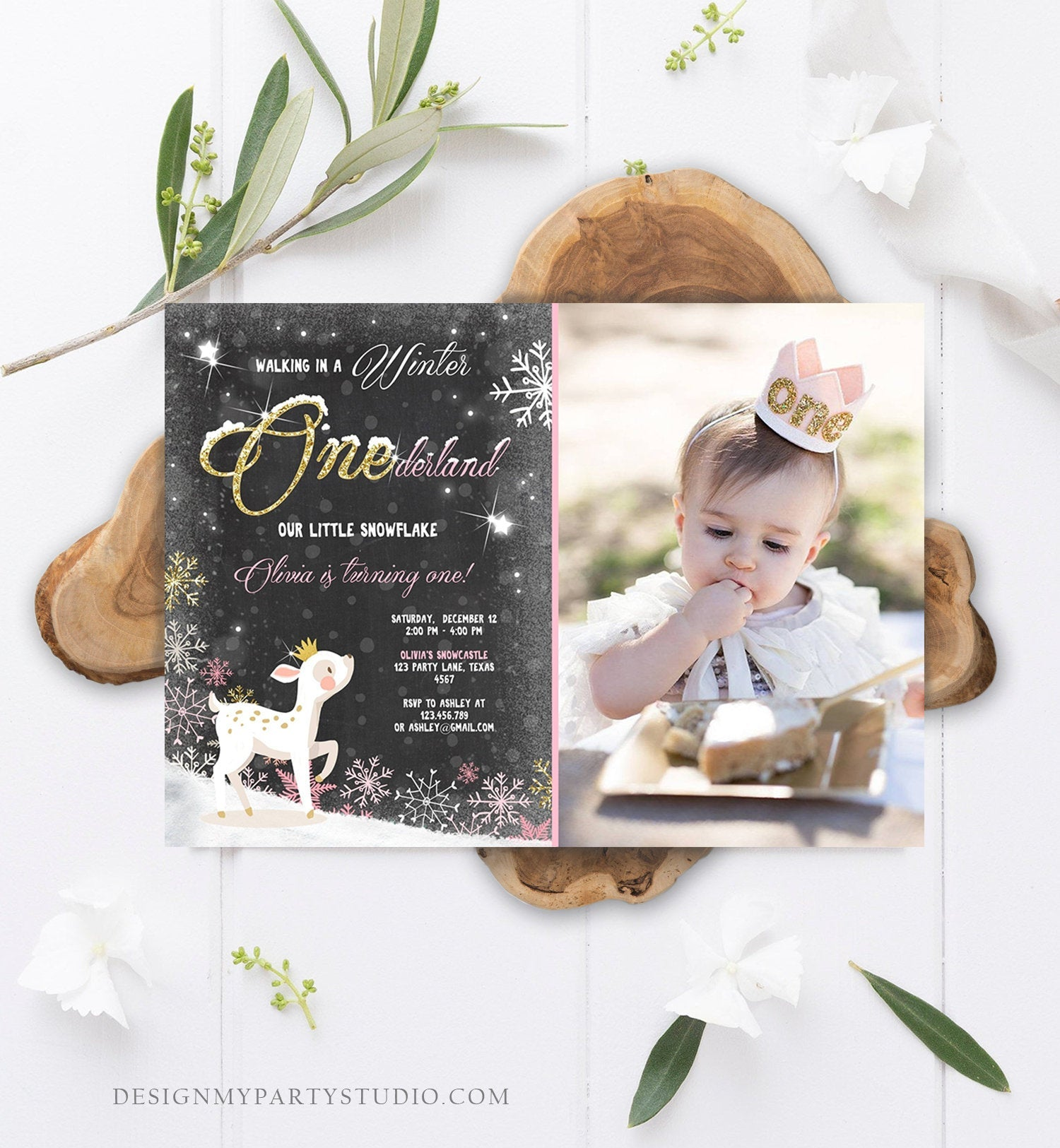 Editable Winter ONEderland Birthday Invitation First Birthday Snowflake Girl Pink Gold Deer Princess Crown Printable Template Corjl 0034