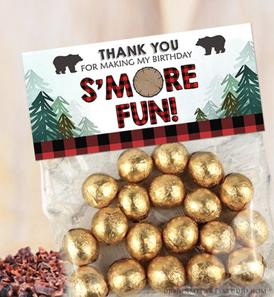 Editable Lumberjack Treat Bag Toppers Smore Fun Birthday Party Wild One First Birthday Baby Shower S'more Digital Corjl Template 0026