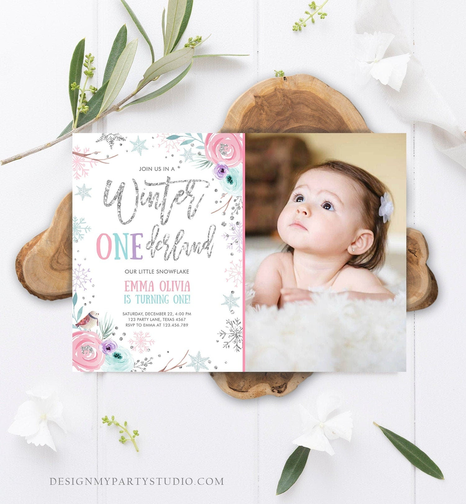 Editable Winter ONEderland Birthday Invitation First Birthday Snowflake Pink Silver Purple Floral Printable Invitation Template Corjl 0256