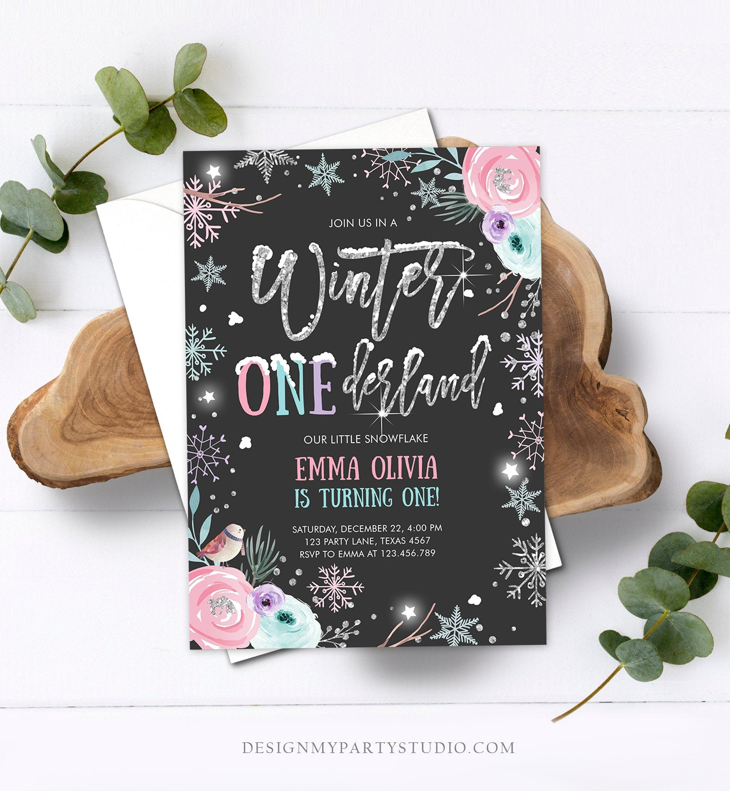 Editable Winter ONEderland Birthday Invitation First Birthday Snowflake Pink Silver Black Floral Printable Invitation Template Corjl 0256