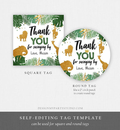 Editable Safari Animals Thank You Tags Wild One Jungle Zoo Black Gold Gift Favor Swinging By Safari Round Square Sticker Corjl Template 0016