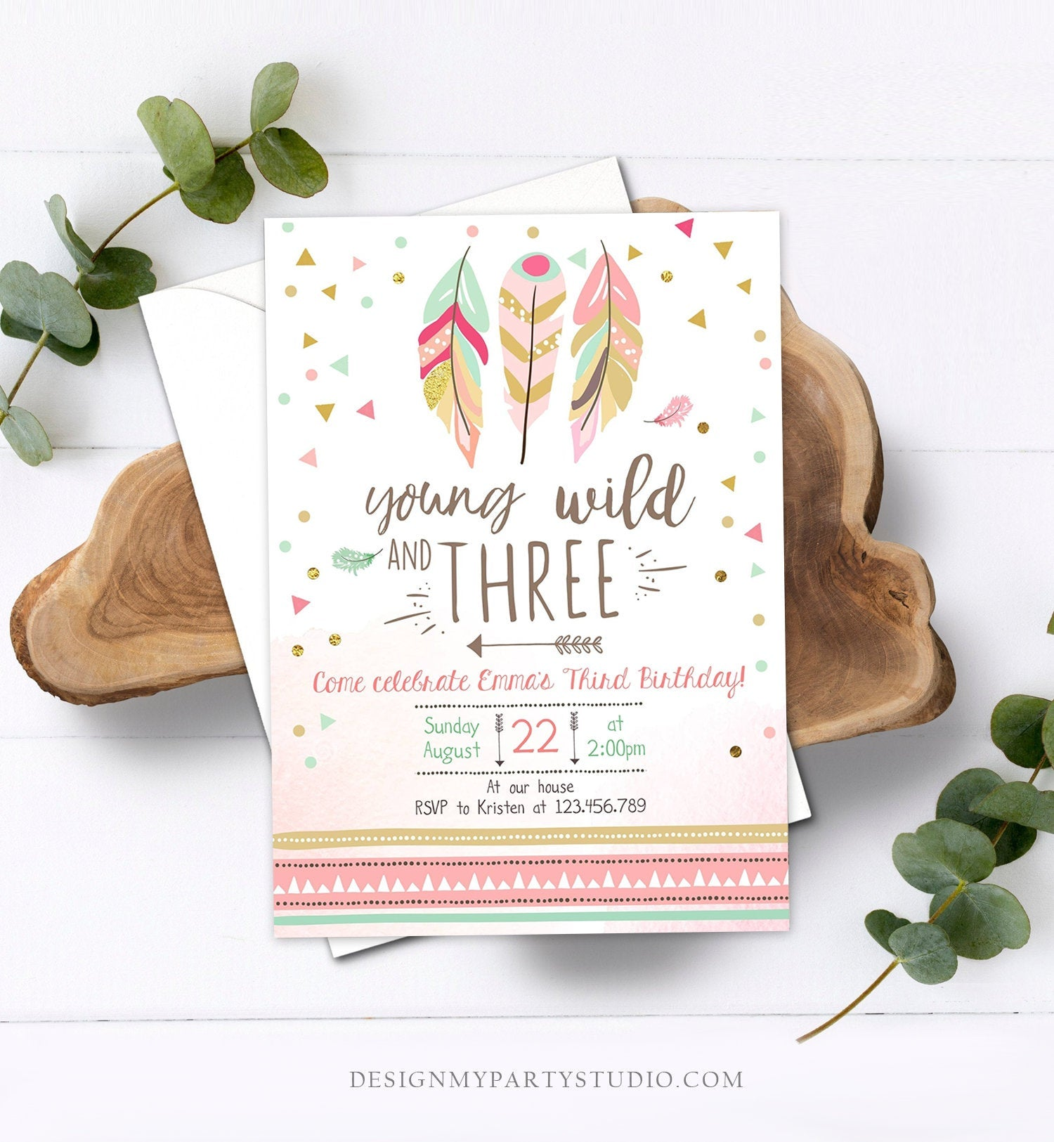 Editable Young Wild and Three Invitation Girl Pink and Gold 3rd Birthday Three Third Boho Download Printable Template Digital Corjl 0073