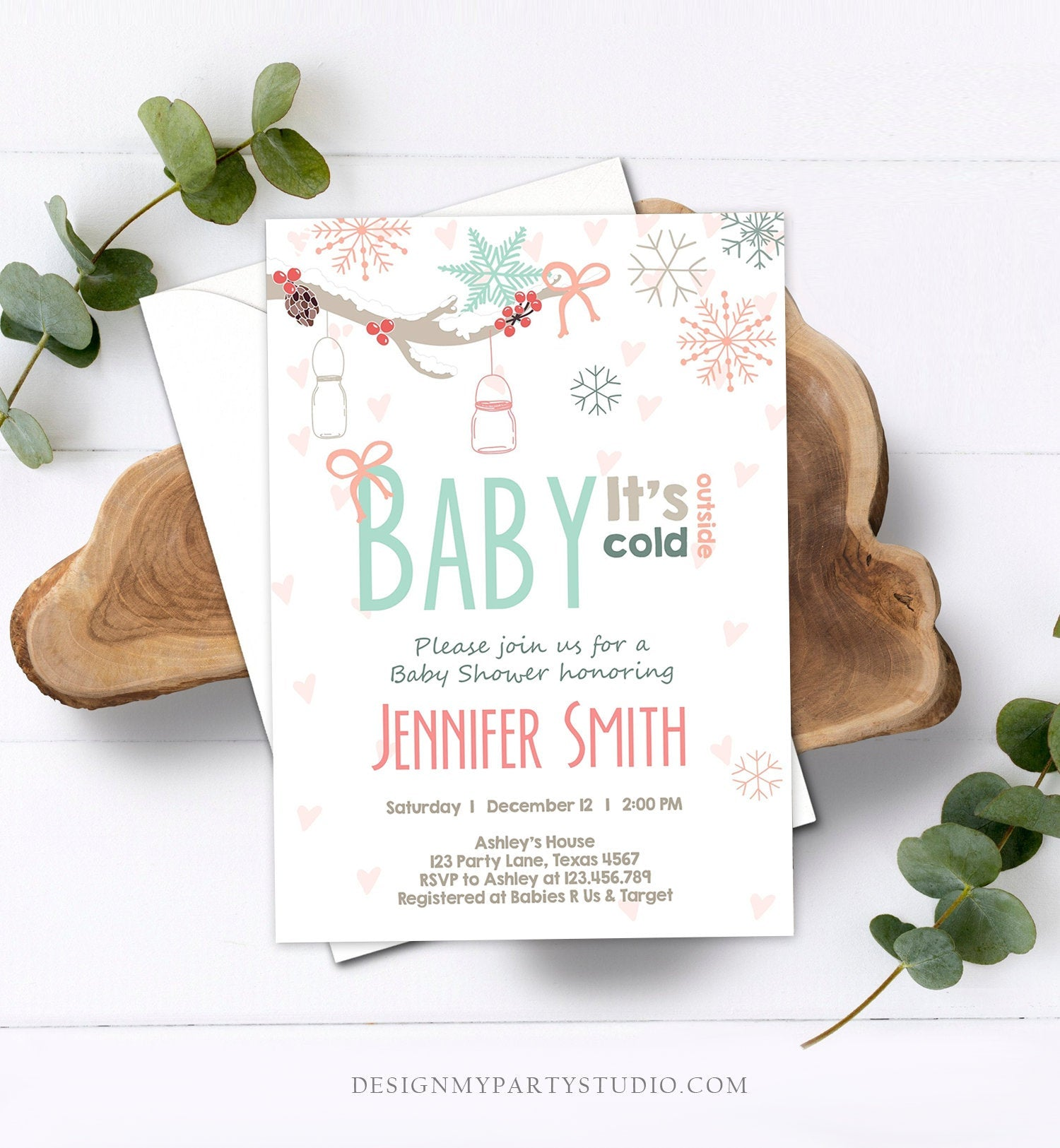 Editable Baby Its Cold Outside Invitation Winter Baby Shower Invite Gender Neutral Snowflakes Mason Jars Pink Template Download Corjl 0054