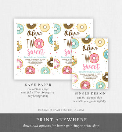 Editable Two Sweet Donut Birthday Invitation Second Birthday Girl Pink Doughnut Party 2nd Download Printable Corjl Template Digital 0050