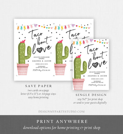 Editable Taco Bout Love Fiesta Couples Shower Invitation Cactus Succulent Green Pink Confetti Download Digital Printable Corjl Template 0254