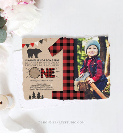 Editable Lumberjack Birthday Invitation First Birthday 1st Boy Woodland Bear Forest Red Black Plaid Rustic Printable Corjl Template 0026