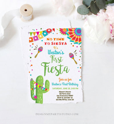 Editable First Fiesta Birthday Invitation Let's Fiesta No Time To Siesta Cactus Mexican Boy Samba Download Printable Corjl Template 0045