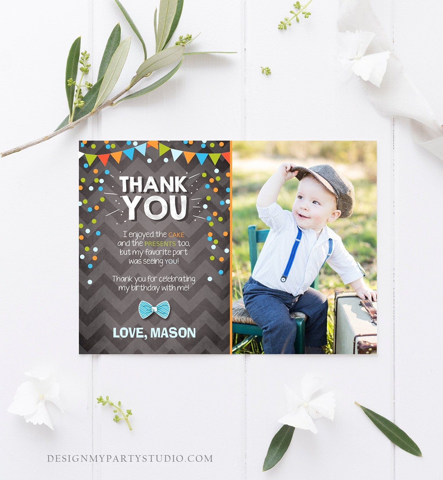 Editable Thank You Card Boy Bowtie Birthday One Green Blue Chalk Confetti First Bow Tie Download Printable Invitation Template Corjl 0071