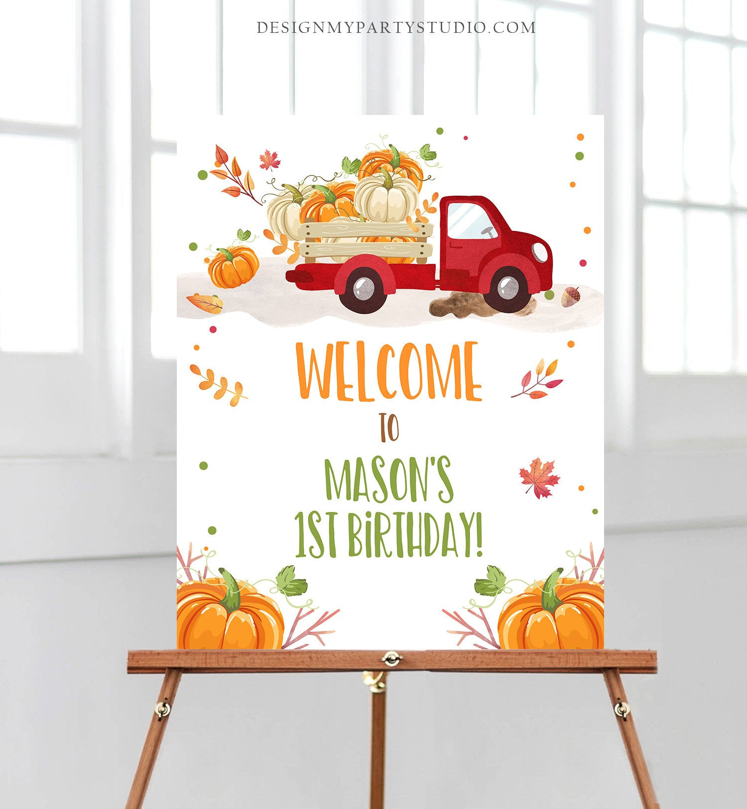 Editable Pumpkin Welcome Sign Pumpkin Truck Birthday Fall Baby Shower Fall Party Welcome 1st Birthday Boy Corjl Template PRINTABLE 0153