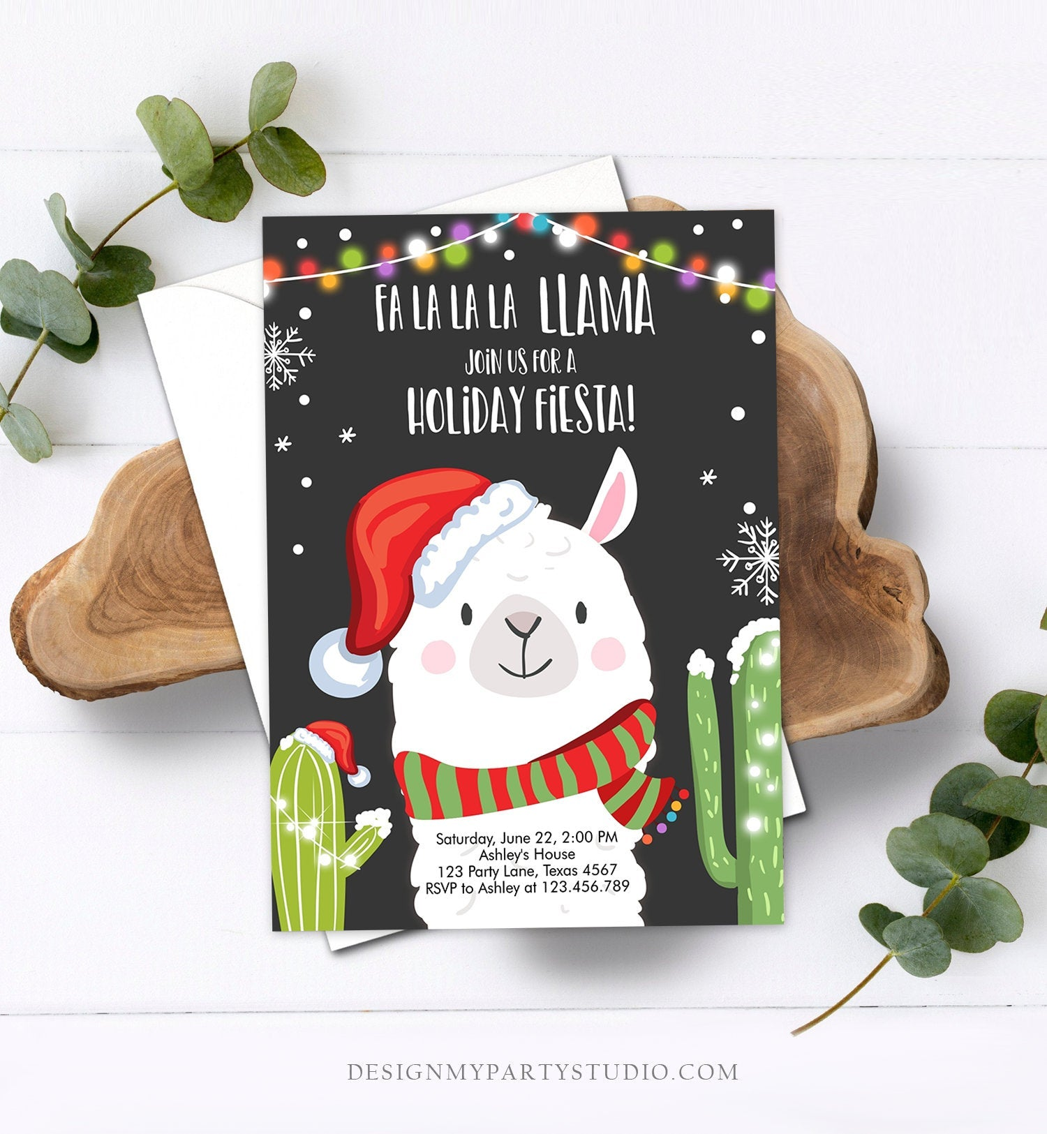 Editable Llama Christmas Party Invitation Cactus Mexican Holiday Fiesta Xmas Fa La La Sweater Party Download Printable Corjl Template 0273