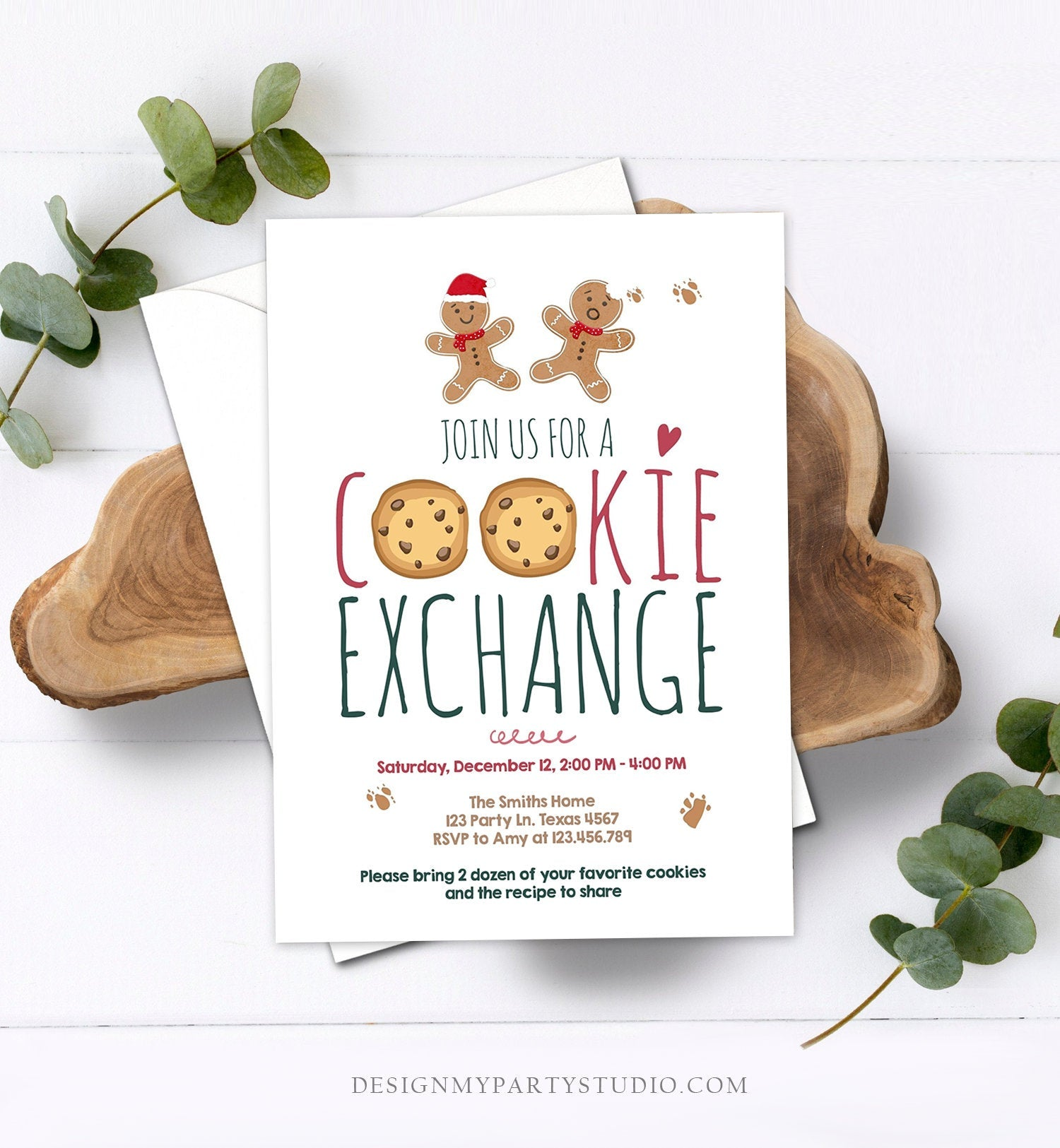 Editable Holiday Cookie Exchange Invitation Christmas Party Invitation Cookie Party Gingerbread Download Printable Template Corjl 0111