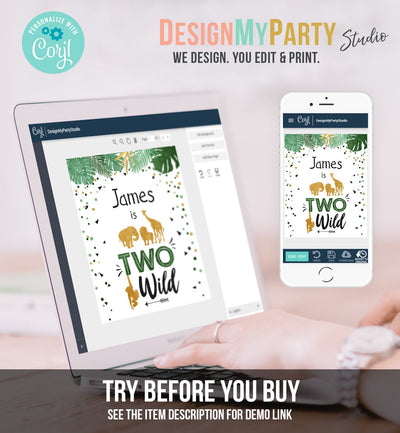 Editable Two Wild Birthday Sign Safari Animals Zoo Jungle Party Second Birthday Green Gold Black Boy 2nd Corjl Template PRINTABLE 0016