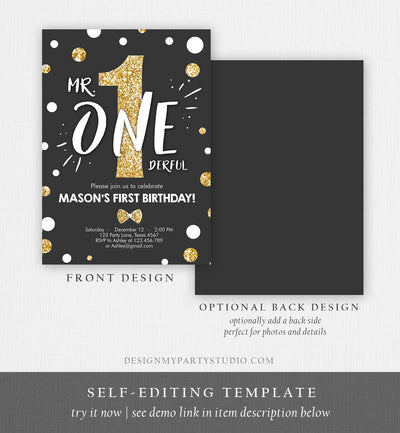 Editable Mr Onederful Birthday Invitation Black Gold Glitter Boy Bow Tie Confetti First Birthday 1st  Printable Corjl Template Digital 0072
