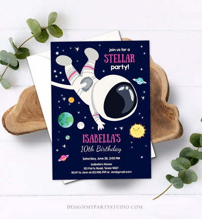 Editable Girl Space Birthday Party Invitation Outer Space Galaxy Planets and Stars Girly Download Printable Template Digital Corjl 0259