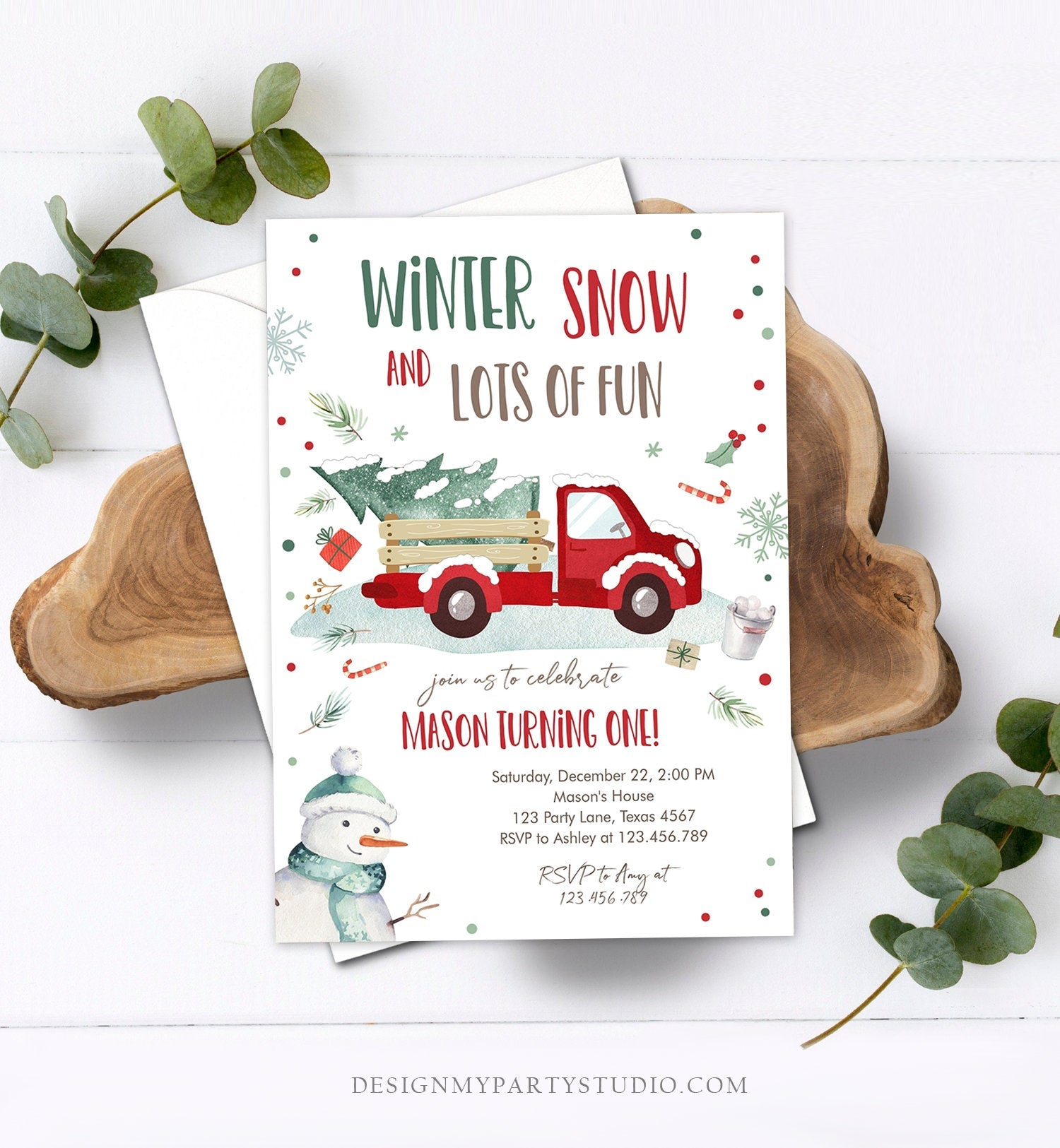 Editable ANY AGE Winter Birthday Invitation Boy Red Truck Birthday Party Winter Onederland Download Printable Invite Template Corjl 0278