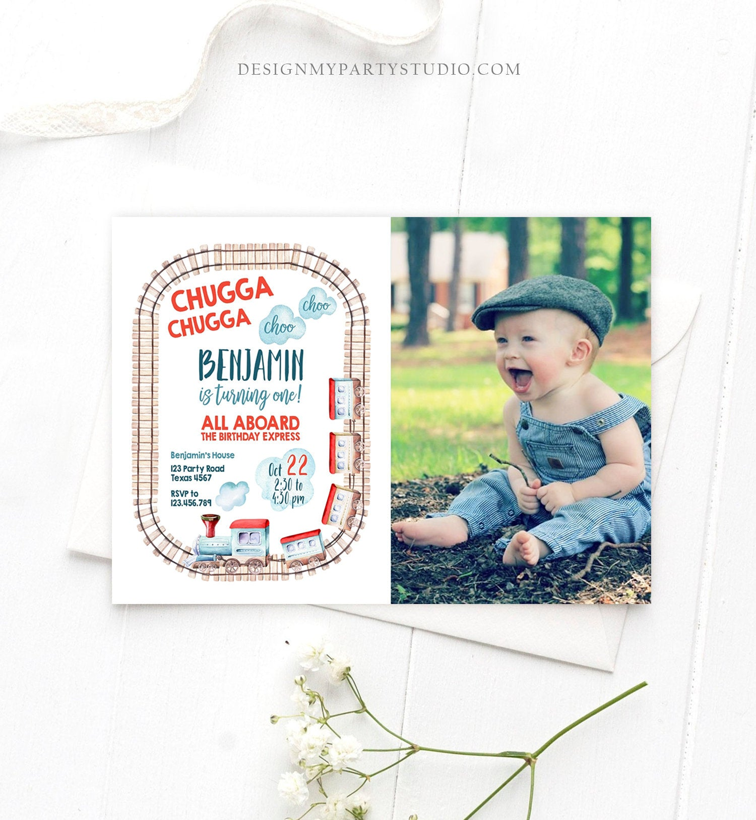 Editable Train Birthday Invitation Vintage Train Party Train Invitation Chugga Choo All Aboard Boy Download Printable Template Corjl 0149