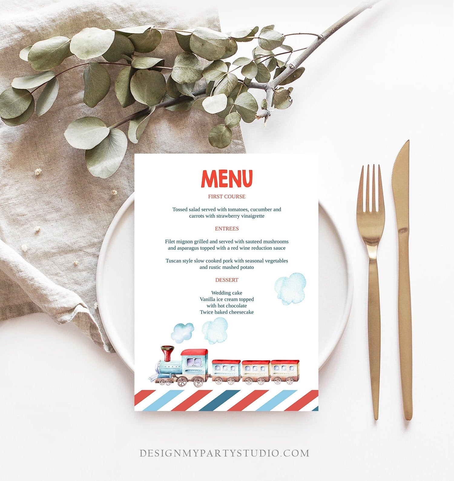 Editable Menu Card Train Birthday Train Decor Vintage Train Table Setting Railroad Instant Download Printable Menu Template Corjl 0149