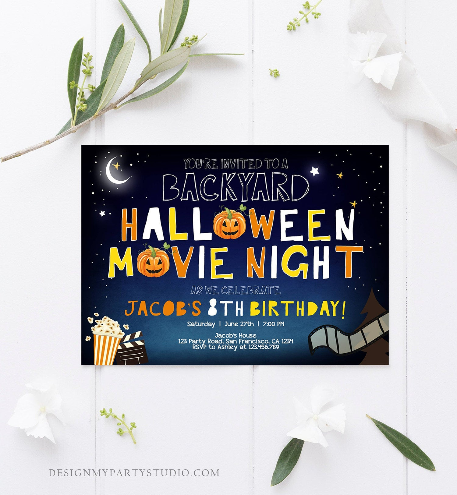 Editable Halloween Movie Night Birthday Invitation Outdoor Backyard Scary Movie Party Popcorn Spooktacular Pumpkin Template Corjl 0180
