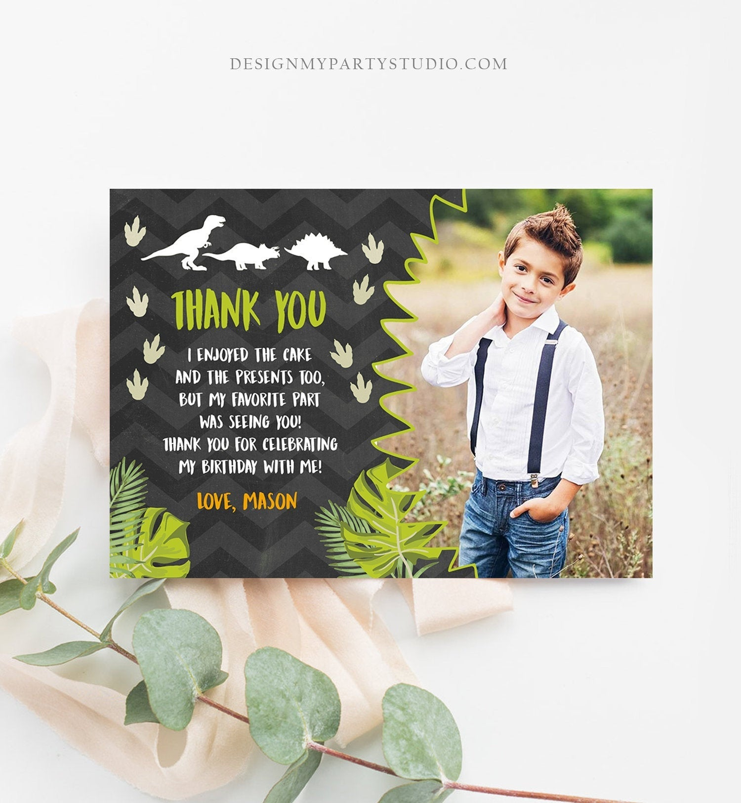 Editable Dinosaur Thank You Card Boy Prehistoric Dino Dig Party T-Rex Note Photo Chalk Digital Download Printable Template Corjl 0043