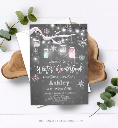 Editable ANY AGE Winter Birthday Invitation Onederland Birthday Invite Snowflake Girl Pink Mint Download Printable Template Corjl 0066