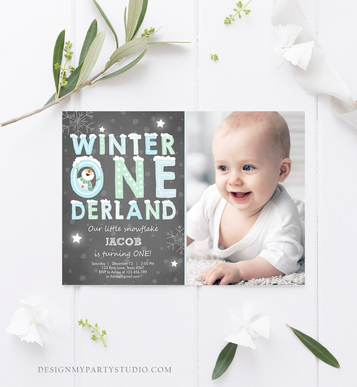 Editable Winter ONEderland Birthday Invitation First Birthday Snowman Boy Blue Download Printable Invitation Template Digital Corjl 0075