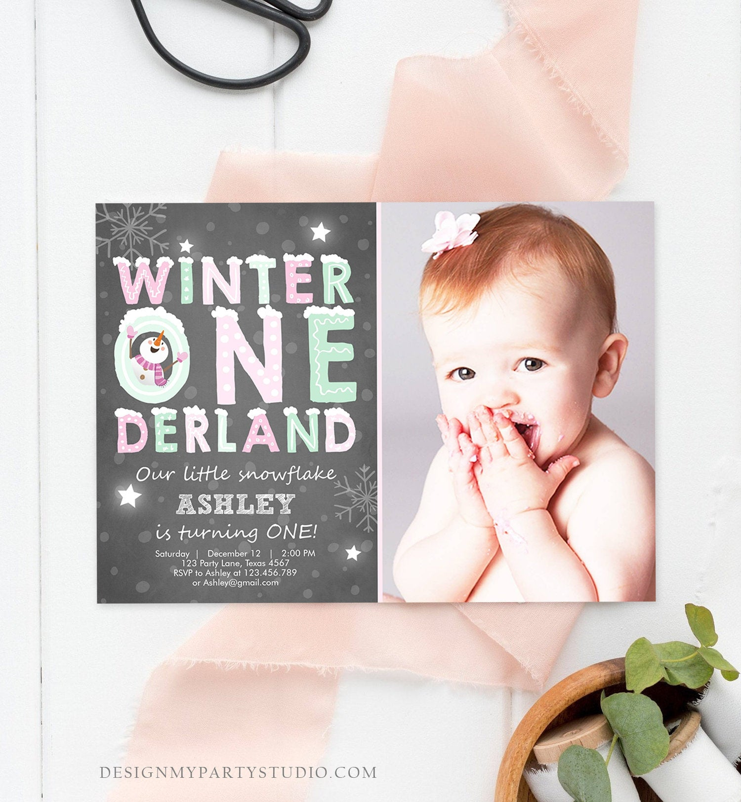 Editable Winter ONEderland Birthday Invitation First Birthday Snowman Girl Pink Mint Download Printable Invitation Template Corjl 0075