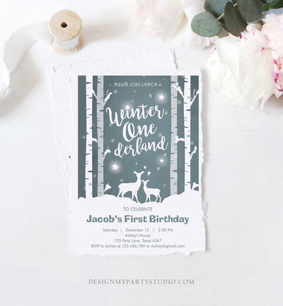 Editable Winter ONEderland Birthday Invitation Boy First Birthday Deer Trees Snowflakes Download Printable Invitation Template Corjl 0264