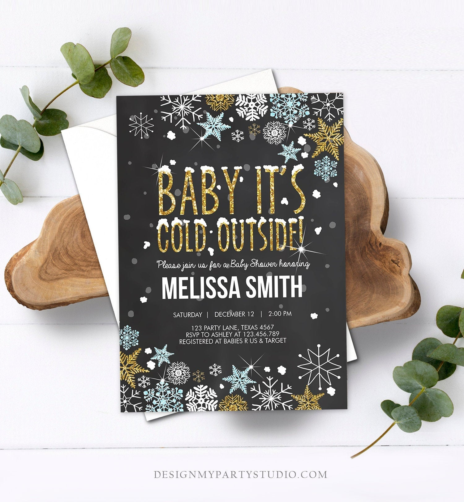 Editable Winter Baby Shower Invitation Baby Its Cold Outside Blue Gold Glitter Boy Winter Snow Template Instant Download Digital Corjl 0033