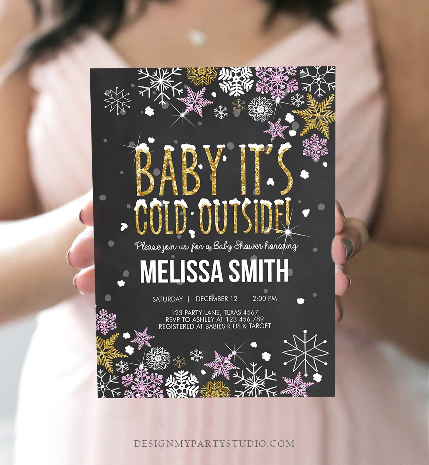 Editable Winter Baby Shower Invitation Girl Baby Its Cold Outside Pink Gold Glitter Winter Snow Template Instant Download Digital Corjl 0033