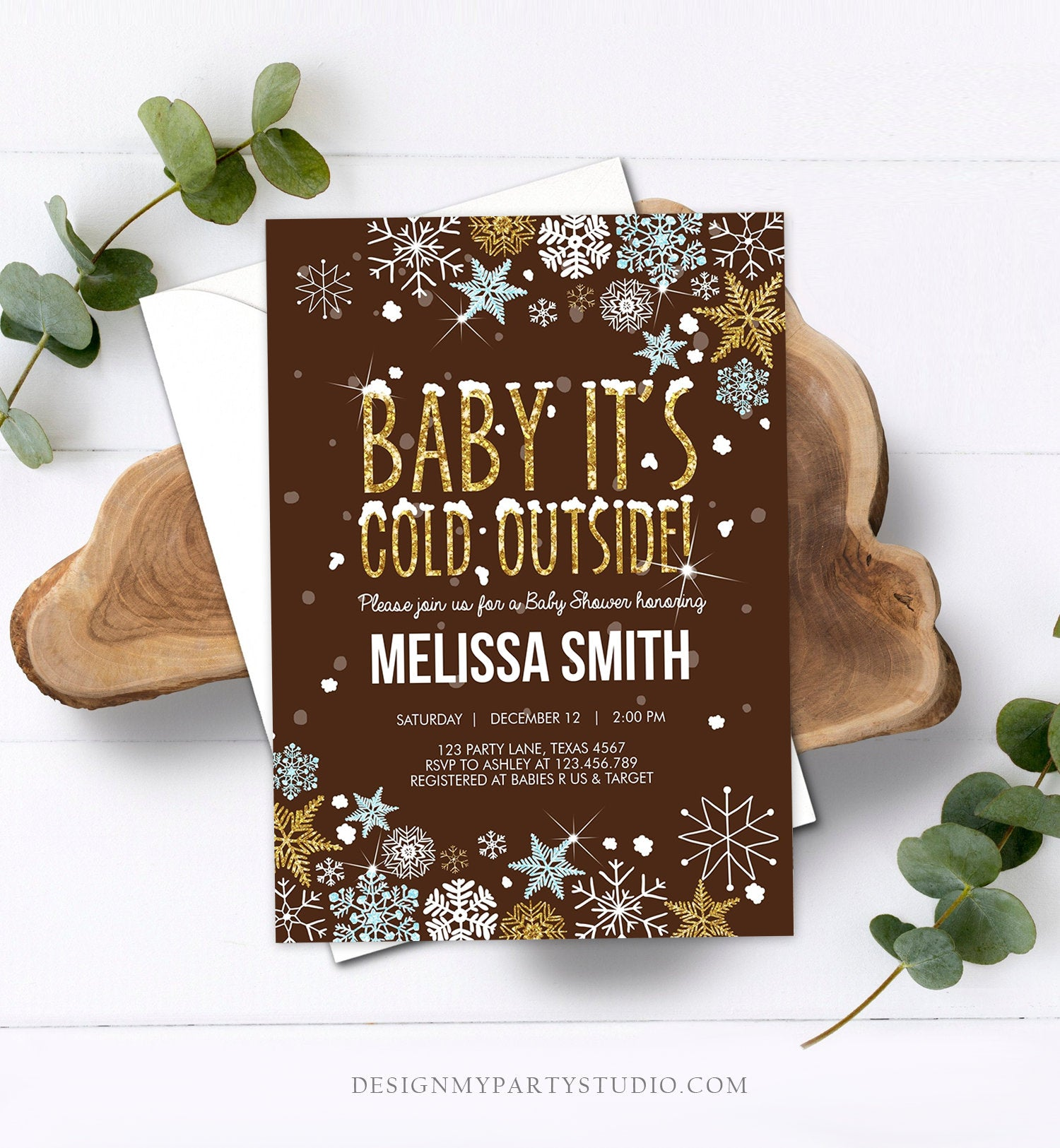 Editable Baby Its Cold Outside Baby Shower Invitation Blue Gold Boy Winter Little Snowflake Invitation Template Download Digital Corjl 0033