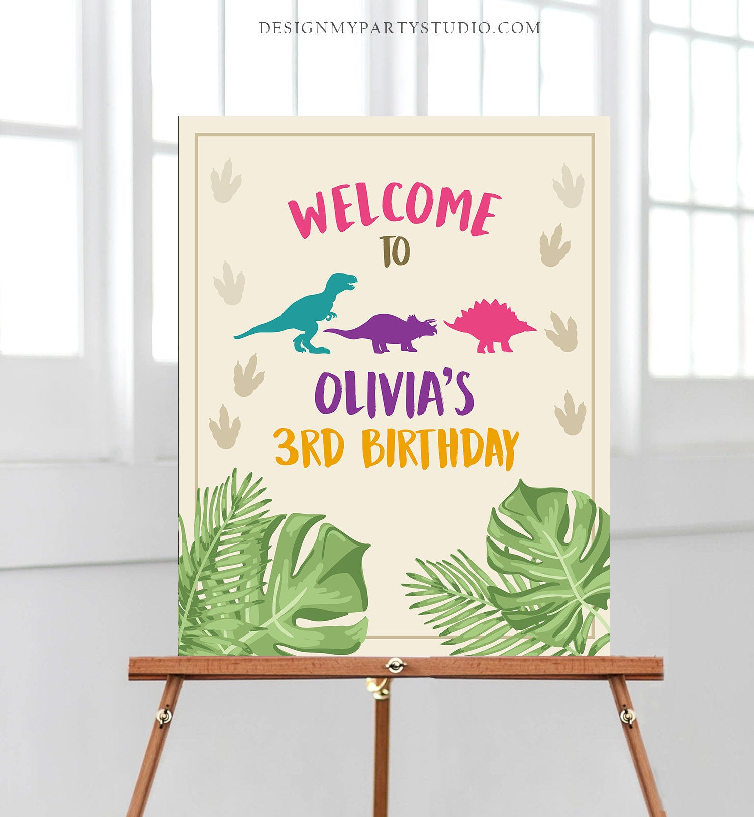 Editable Dinosaur Welcome Sign Birthday Party Table Sign Welcome Dino Dig Party Girl Pink Digital Download Template Printable Corjl 0043