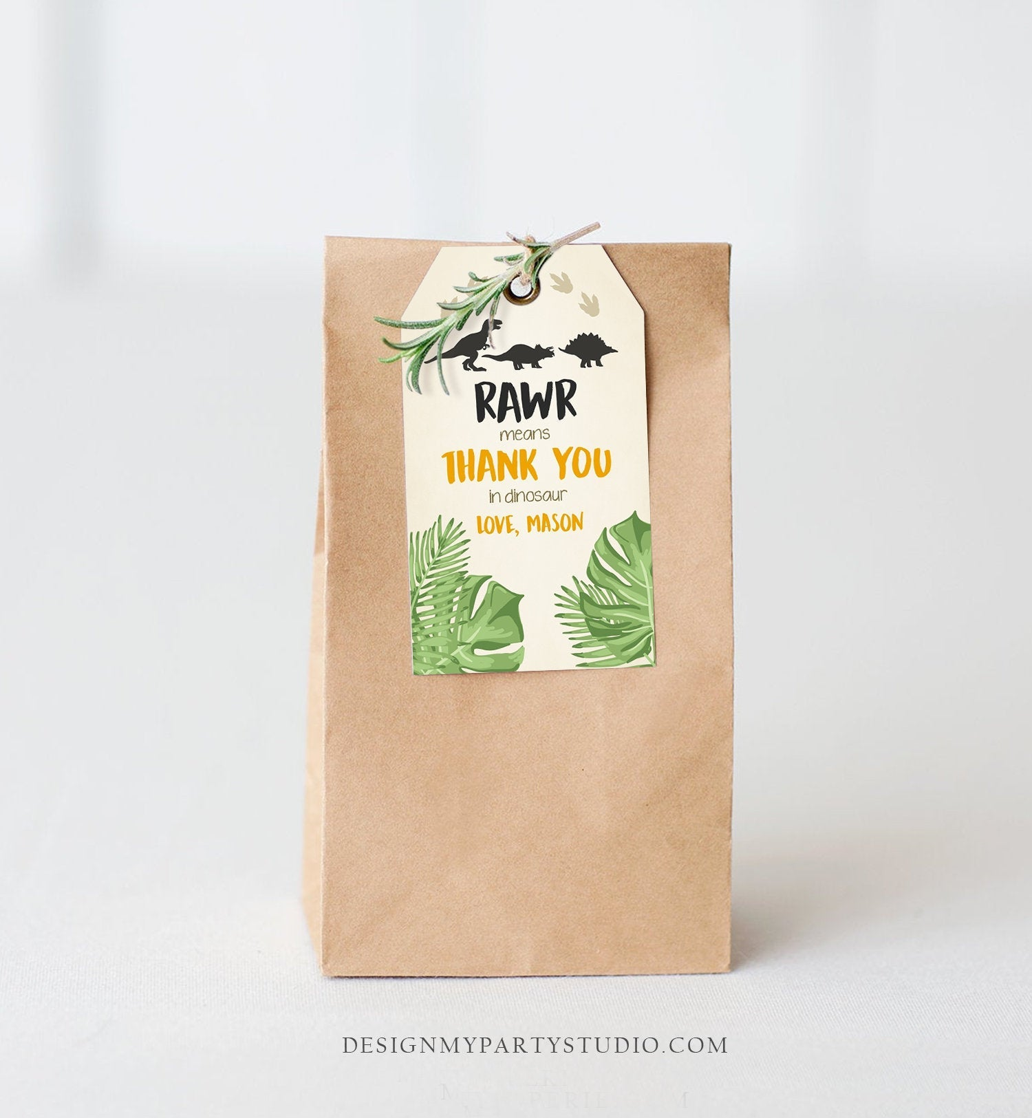 Editable Dinosaur Favor Tags RAWR Thank You For Stomping By Dino Boy Birthday Party Instant Digital Download Template Corjl Printable 0043