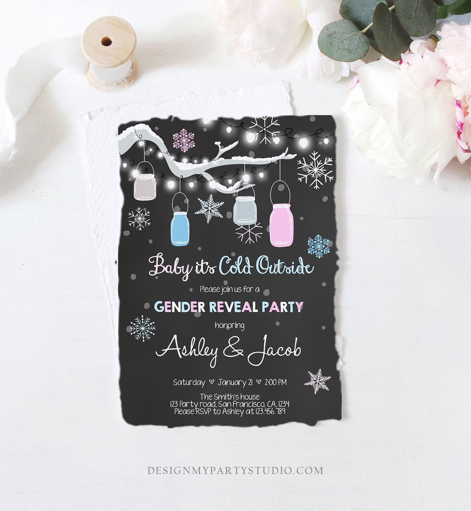 Editable Winter Gender Reveal Invitation Cold Outside Snow Boy or Girl He or She Chalk Rustic Template Invitation Download Corjl 0012