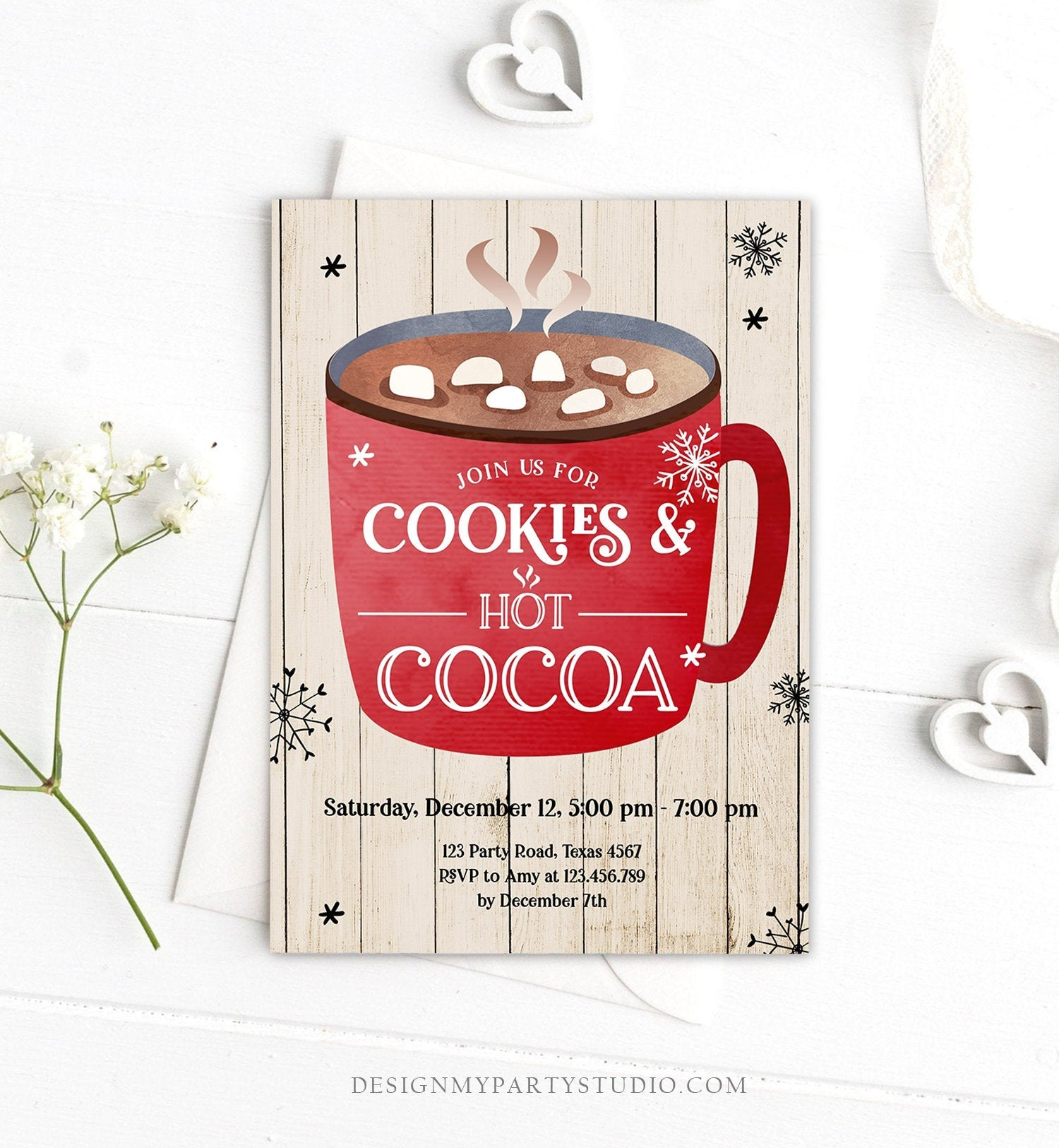 Editable Cookies and Cocoa Invitation Hot Cocoa Party Invitation Cookies and Milk Birthday Christmas Download Printable Template Corjl 0262