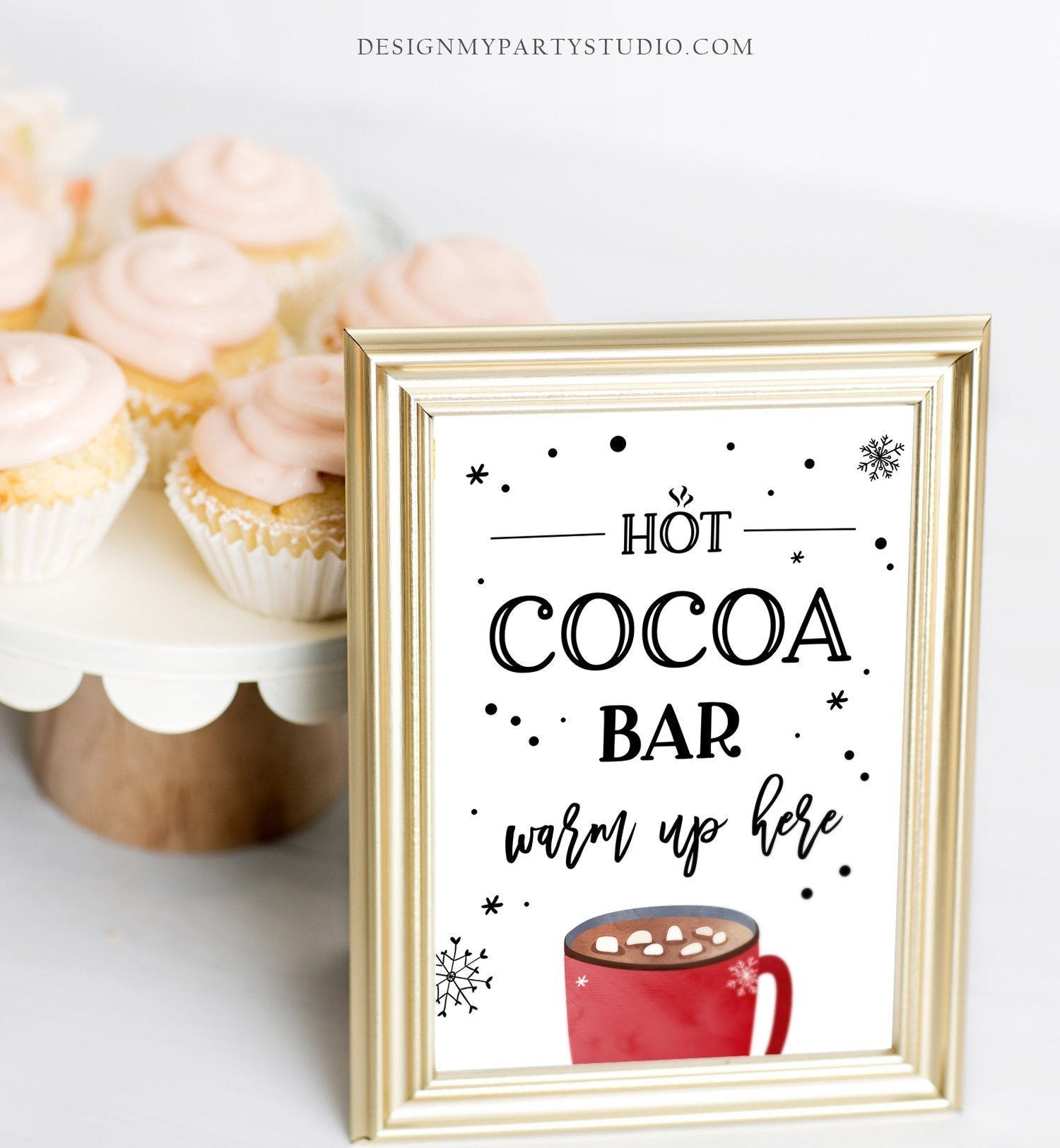 Hot Cocoa Bar Sign Printable Hot Chocolate Bar Table Sign Cookies Cocoa Birthday Winter Party Decor Farmhouse Xmas Digital PRINTABLE 0262