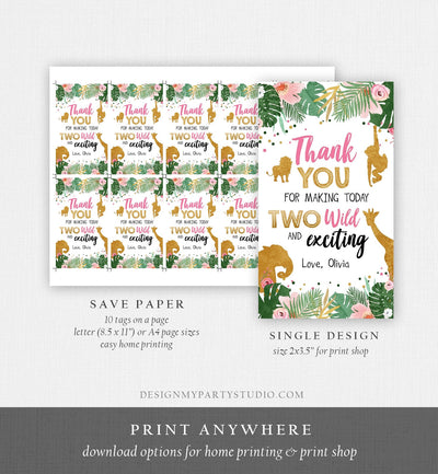 Editable Two Wild Safari Animals Favor Tags Second Birthday Jungle Zoo Animals Thank You Tags 2nd Girl Pink Gold Digital Corjl Template 0016