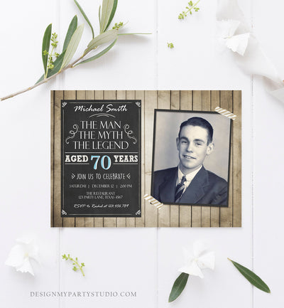 Editable The Man The Myth The Legend Birthday Invitation Man Men Adult Birthday Wood Rustic Chalk Download Printable Invitation Corjl 0101
