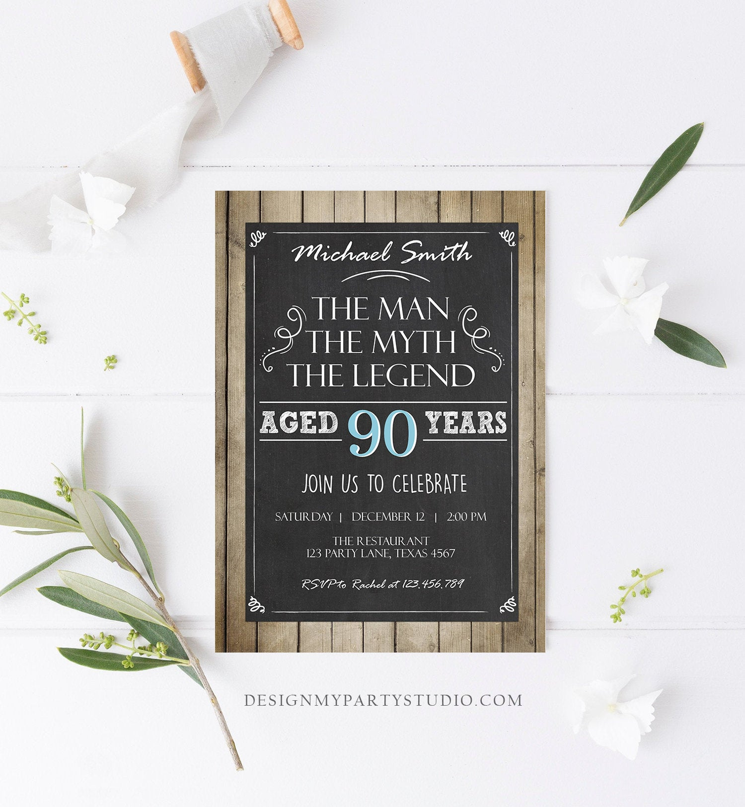 Editable The Man The Myth The Legend Birthday Invitation Man Men Adult Birthday Wood Rustic Chalk Download Printable Invite Corjl 0101